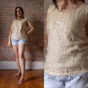 TRUE VINTAGE 1960s SEQUIN IMPERIAL KNIT TOP